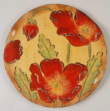 Maxcera Corp Poppy Splatter Dinner Plate, Fine China Dinnerware Red ...
