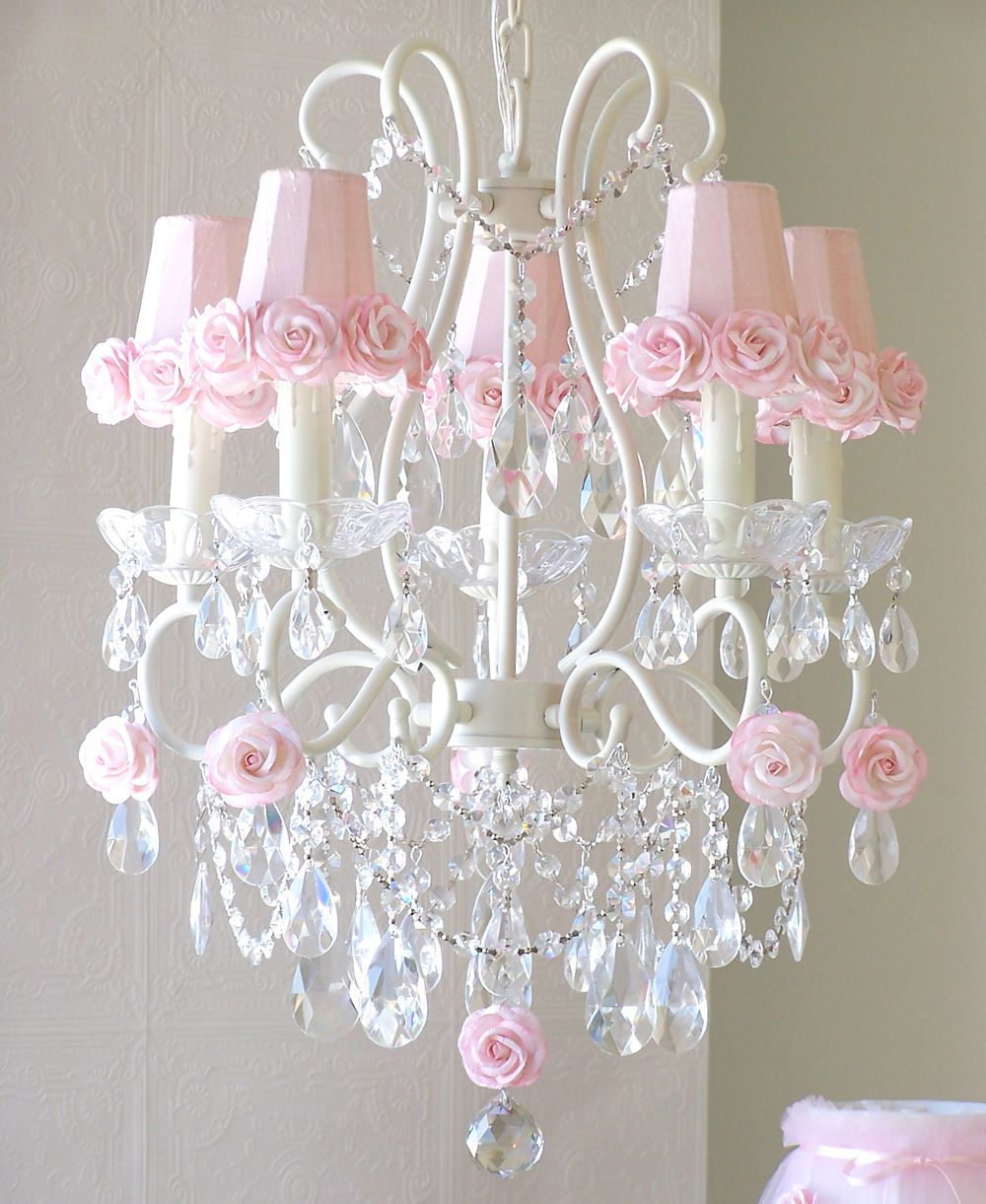 5 Light Antique White Chandelier with Pink Rose Shades