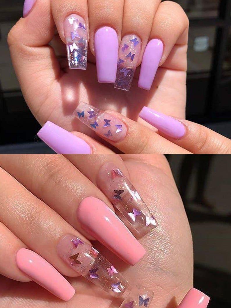 Stensils D Autocollant D Ongle De Papillon Nail Decal Nail Art Decals Autocollants D Art D Ongle Vinyle Des Autocollants D Ongle Papillons De Calvouine Holo In 2020 Pink Acrylic Nails Purple Acrylic Nails