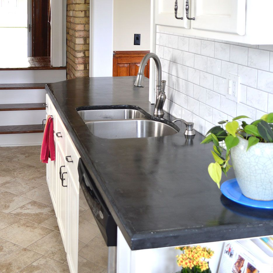 Easy Diy Concrete Counters The Missing Link Diy Concrete Counter Outdoor Kitchen Countertops Diy Concrete Countertops
