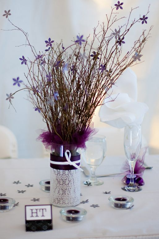 Centerpieces Created With Dollar Store Glass Vases And Votives