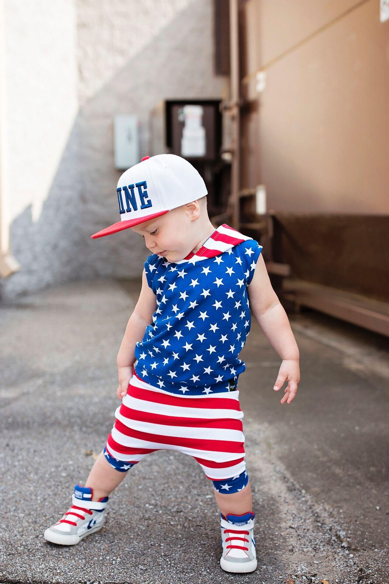 935d18d9c 2PCS 4th of July Independence Day Summer Baby Boys Girls Star Hooded+Pants  Sets Cute
