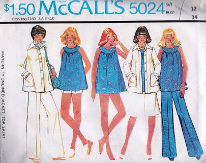 McCall's 5024; ©1976; MATERNITY UNLINED JACKET, TOP, SKIRT, PANTS OR SHORTS AND PANTIES: Jacket has shirt-type collar, buttoned front bands, patch pockets and button trimmed sleeve tabs. Yoked top has buttoned back vent. Skirt, pants or shorts have zipper in back seam opening and purchased maternity stretch panel. Panties have elastic in upper and leg openings.  IN ORIGINAL FACTORY FOLD  FREE U.S. Shipping, Same day shipping when paid by 3:00 p.m. PST