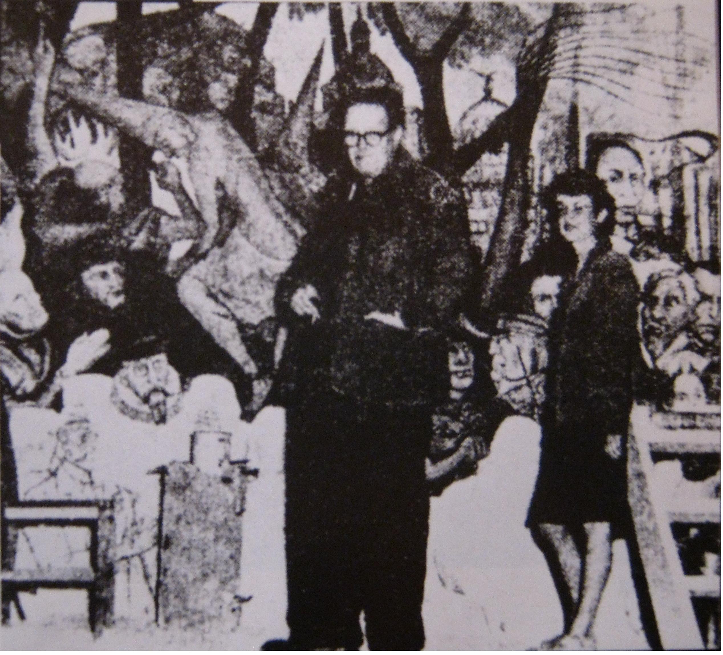 """Diego Rivera y Rina Lazo frente al mural """"Sueño de una tarde dominical en la Alameda Central"""""""