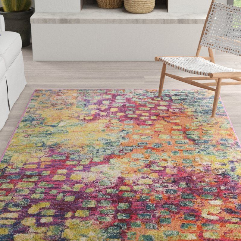 Feist Abstract Pink Green Yellow Area Rug Area Rugs Yellow Area Rugs Rugs