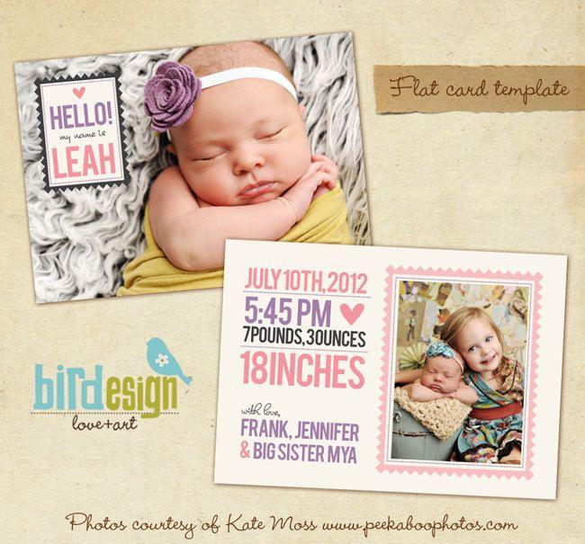 INSTANT DOWNLOAD - Birth announcement template - Big sister- E276 ...