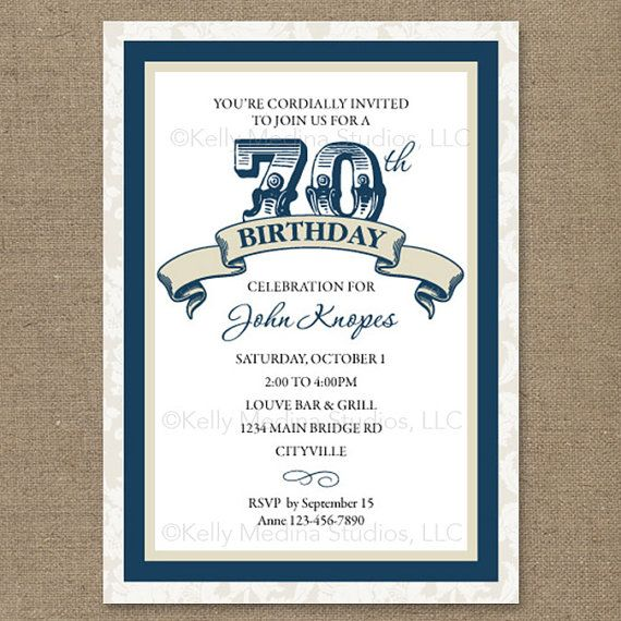 Custom 70th Birthday Navy Blue And Cream Or Red Maroon Purple