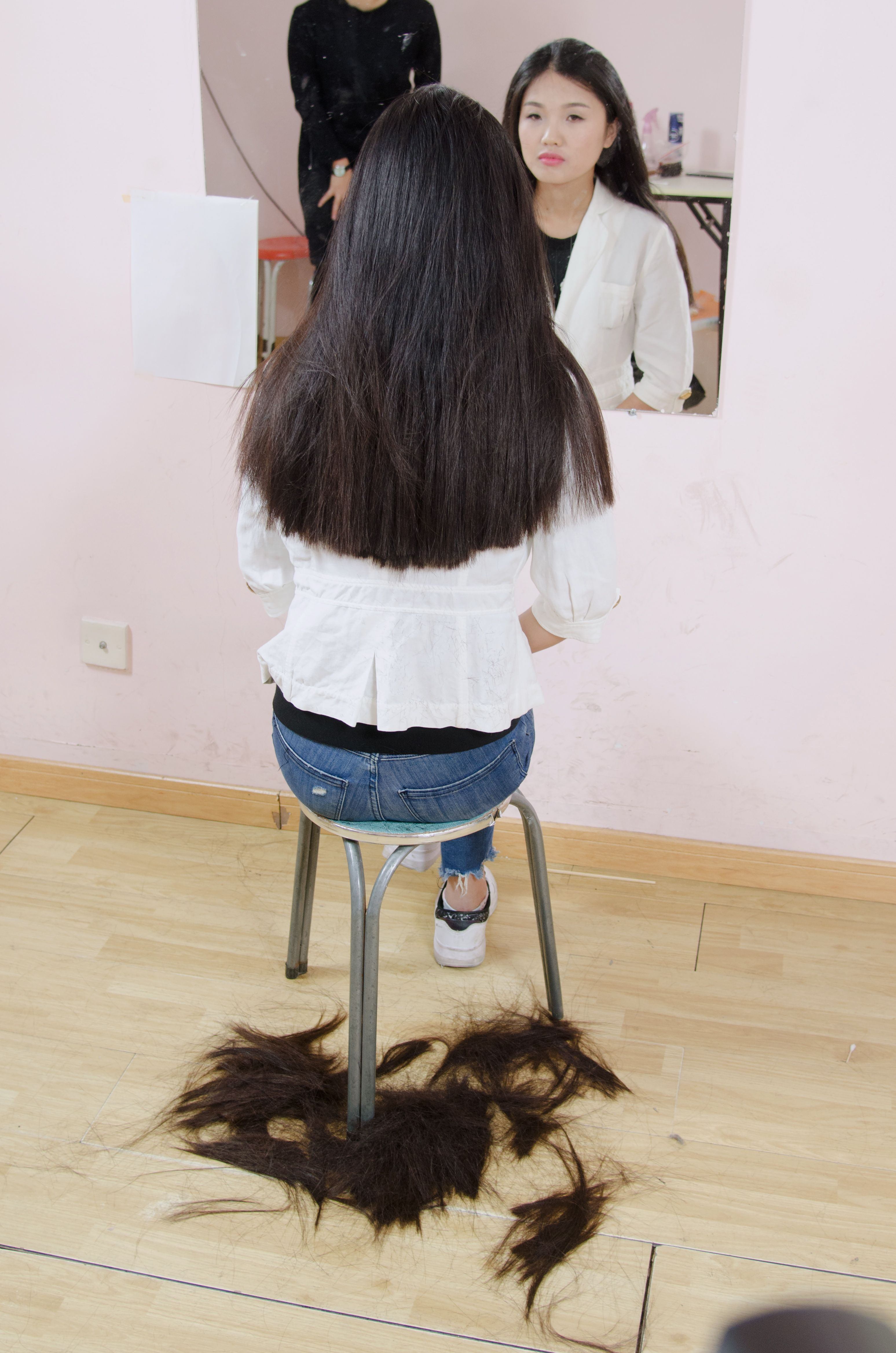 First Just A Trim Hair On The Floor Pinterest Haircuts Forced