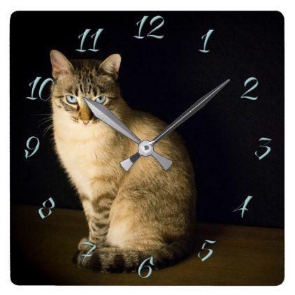 Cute kitty square wall clock Cute cats