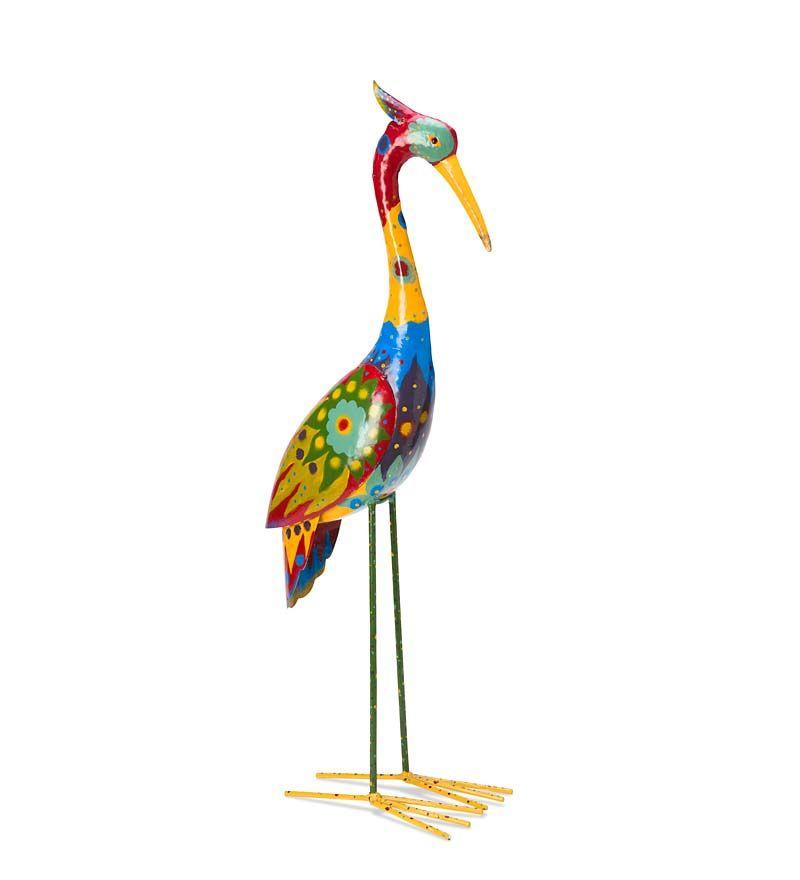 Colorful Metal Crane Sculpture in Metal Yard Sculpture