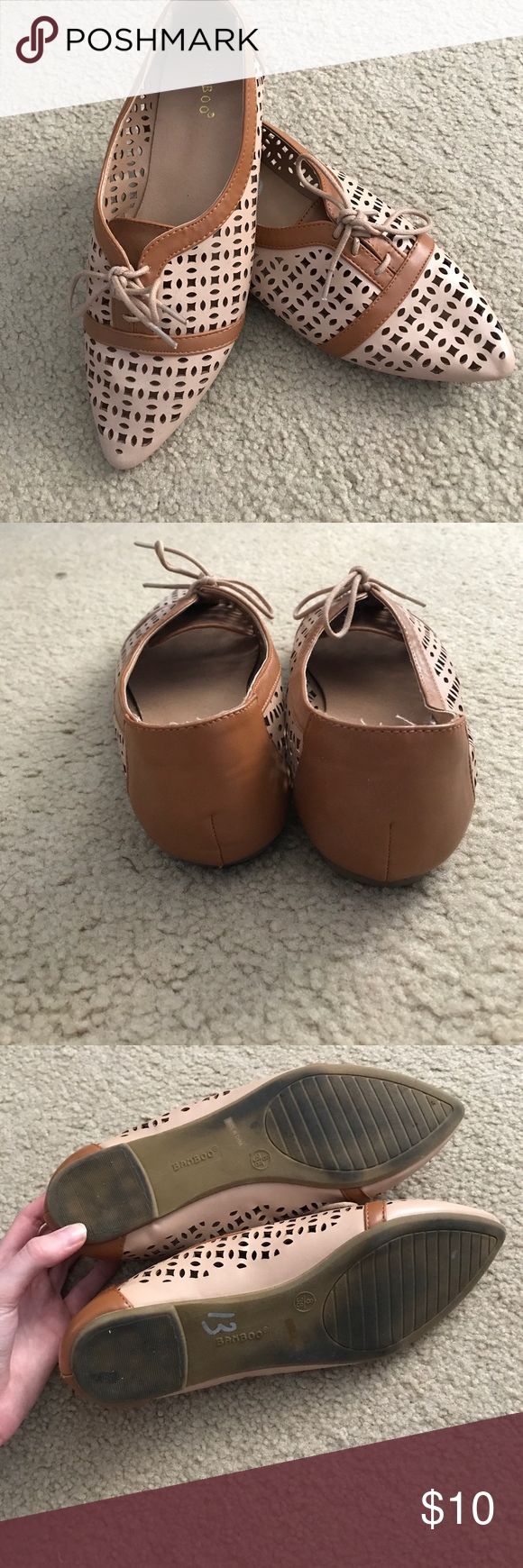 Super cute oxfords with hole detailing! Worn a couple times - in great condition! Shoes Sandals