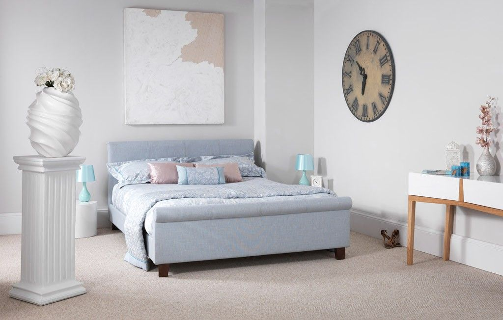 Hazel Fabric Ice Blue Upholstered Small Double 4ft Bed Frame | Room ...
