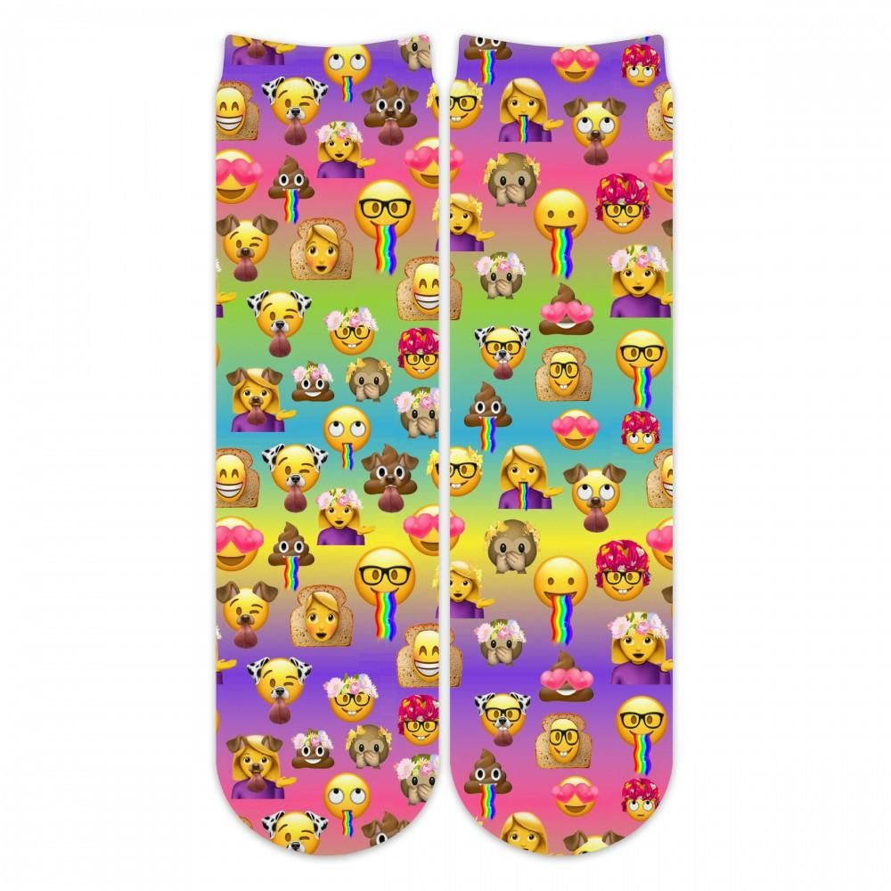 Sublime Designs Adult Fun Printed Crew Socks Emoji 2 0 Rainbow Snapmoji Fun Prints Adult Fun Crew Socks