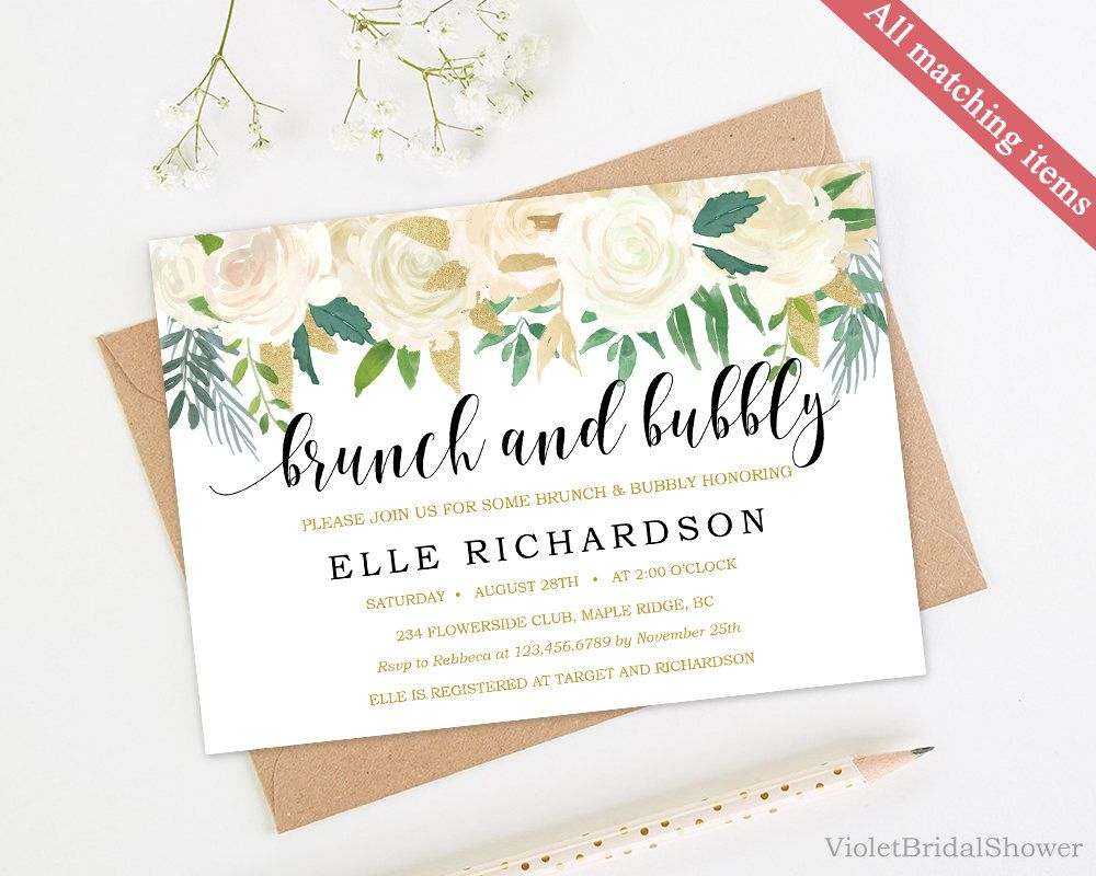Ivory and Gold Brunch and Bubbly Invitation Template. Printable