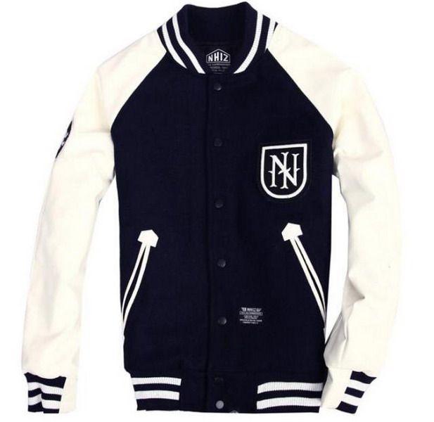 Men Letter U Leather Sleeve Dark Grey Varsity Baseball Jacket ...