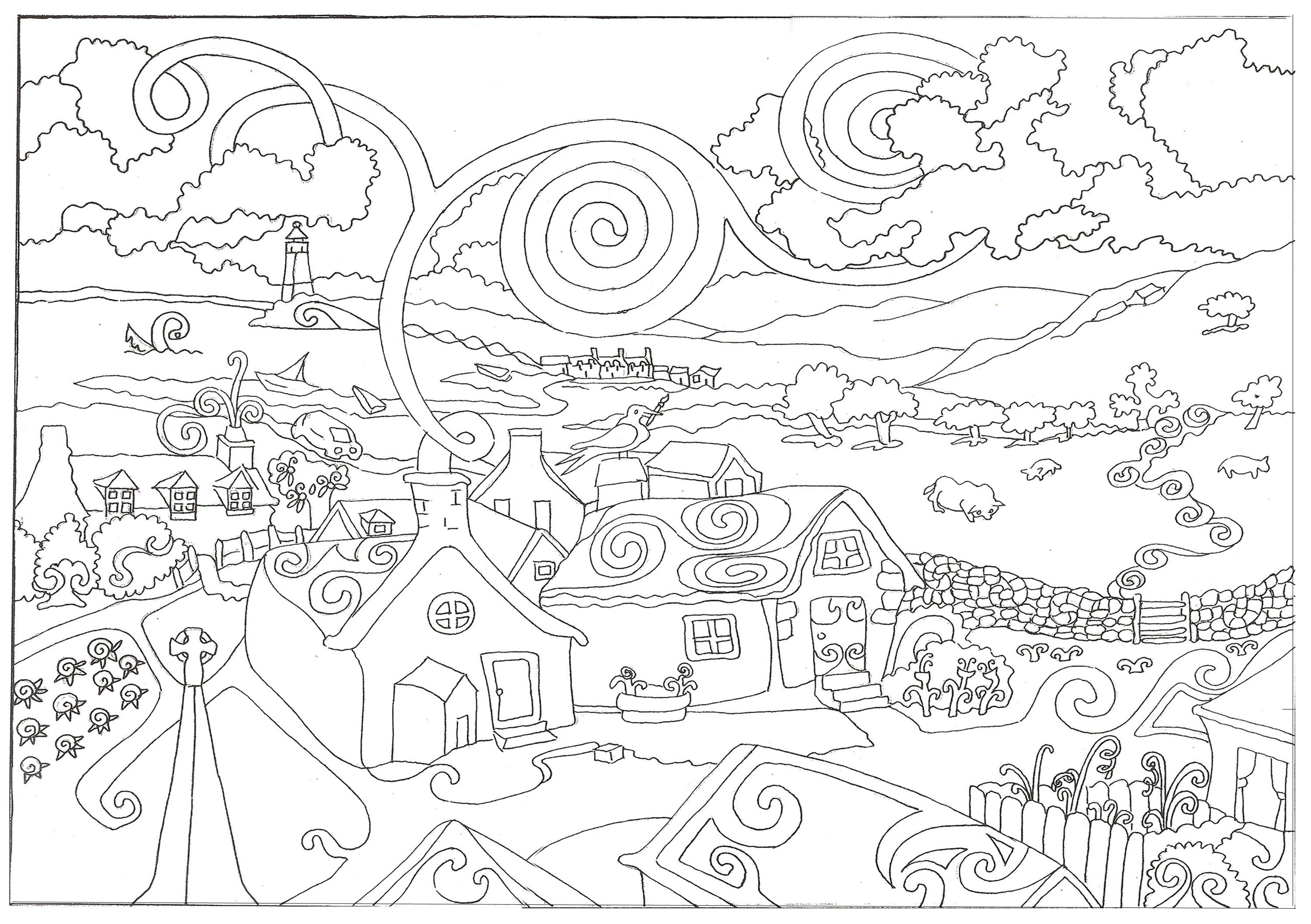 Adulte Paysage Difficile X additionally Funny Fall Autumn Scarecrow Coloring Books moreover Coloriage Livre Gratuit Cerf moreover Pumpkin Fall Scarecrow Coloring Sheets as well Happy Thanksgiving Coloring Page. on complicated coloring pages for adults autumn
