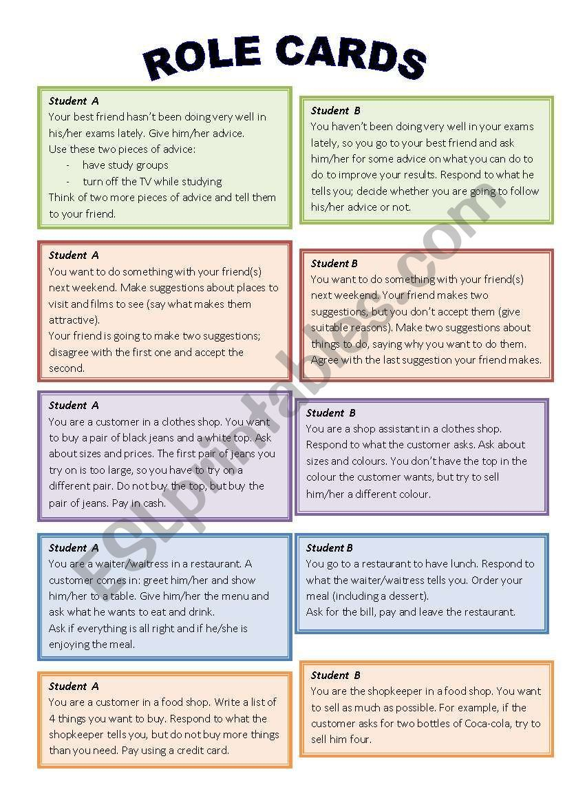 Role play cards worksheet | Rules on English teaching
