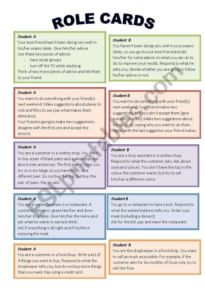 Role Play Cards Worksheet Language Teaching Speaking Activities Esl Teaching English