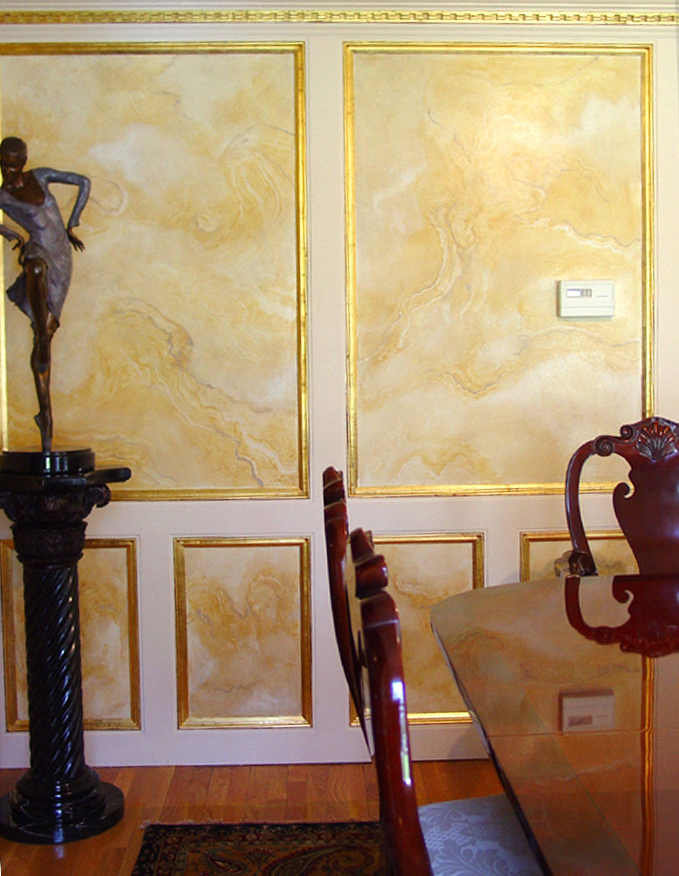 Faux Marble Wall Panels in Dining Room with Gold Leaf Picture Frame ...