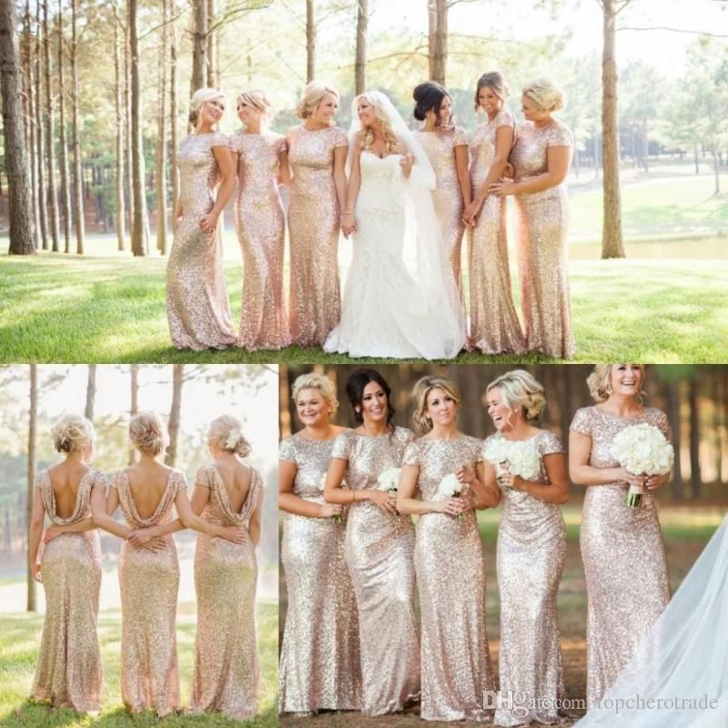 dff0459c49f Sparkly Rose Gold Cheap Mermaid Bridesmaid Dresses 2016 Short Sleeve  Sequins Backless Long Beach Wedding Party Gowns Gold Champagne Chiffon  Bridesmaid ...