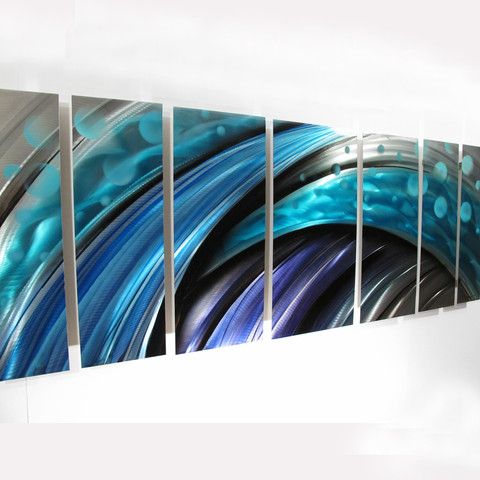 Typhoon Large Metal Wall Art Panels With Contemporary Abstract Blue Tropical Wave Design
