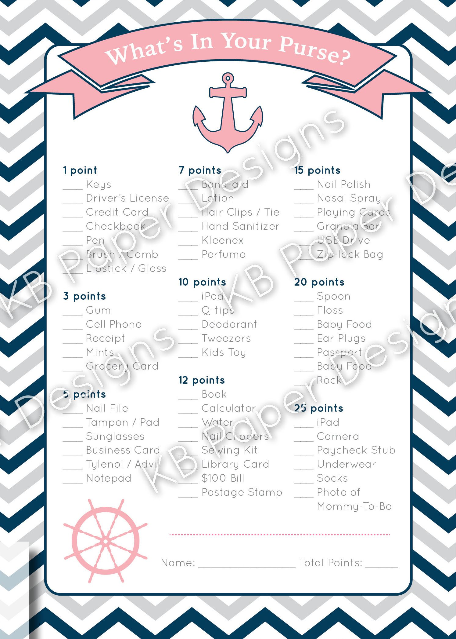 Instant Download Nautical Baby Shower Game From Kbpaperdesigns On Etsy