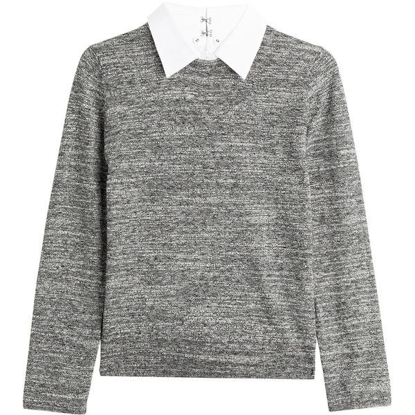 Steffen Schraut College Cotton and Wool Pullover (€94) ❤ liked on Polyvore featuring tops, sweaters, shirts, jumpers, grey, grey shirt, slim fit shirt, grey sweater, zipper sweater and wool sweater