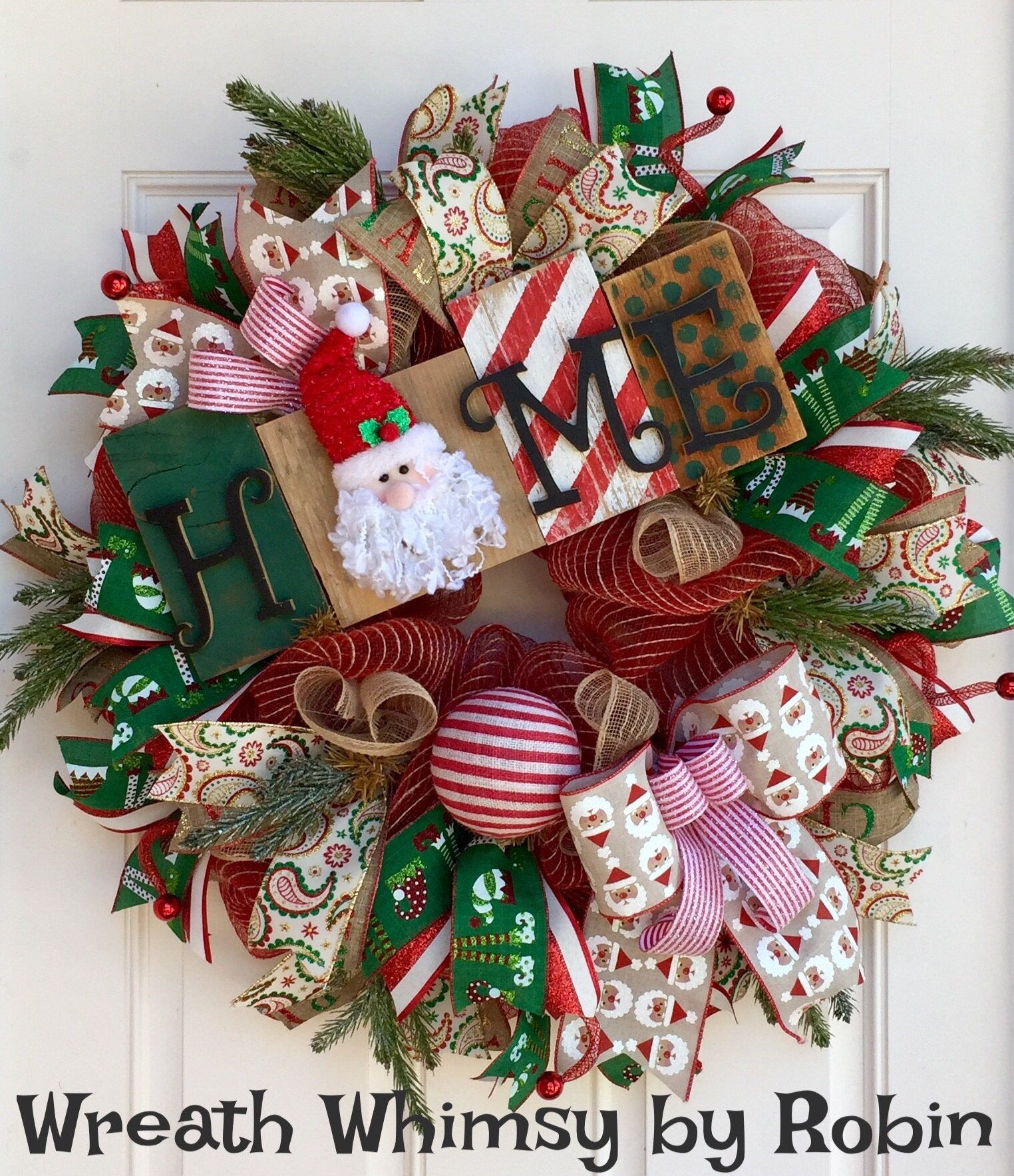 Christmas Jute Mesh Wreath With Handmade Wood Santa Home Sign,