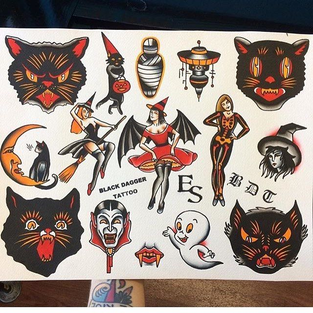 Halloween Flash Ready To Be Tattooed By Overthrown Traditionaltattoo Traditionaltattooflash Tattoo Halloweentattoo Spooky Tattoos Witch Tattoo Cat Tattoo
