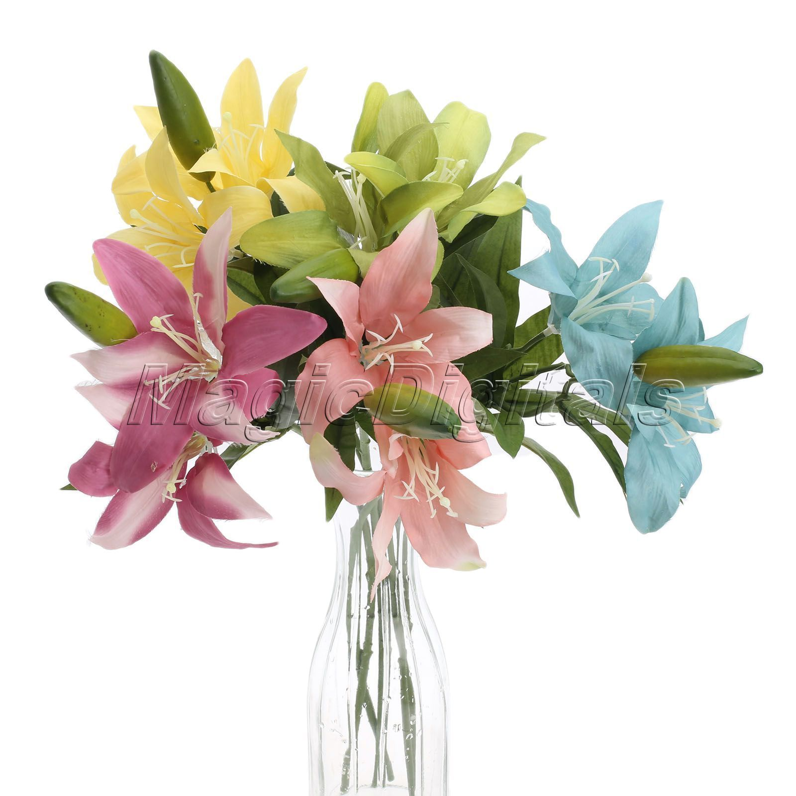 169 gbp artificial fake lily flowers leaf plants bouquet bridal artificial fake lily flowers leaf plants bouquet bridal wedding party home decor ebay home izmirmasajfo