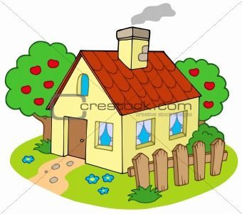 House With Garden Cartoon House Cute House Art Drawings For Kids