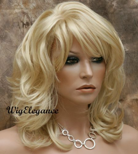 Medium Length Wigs With Bangs Wavy Layered Wig Pale