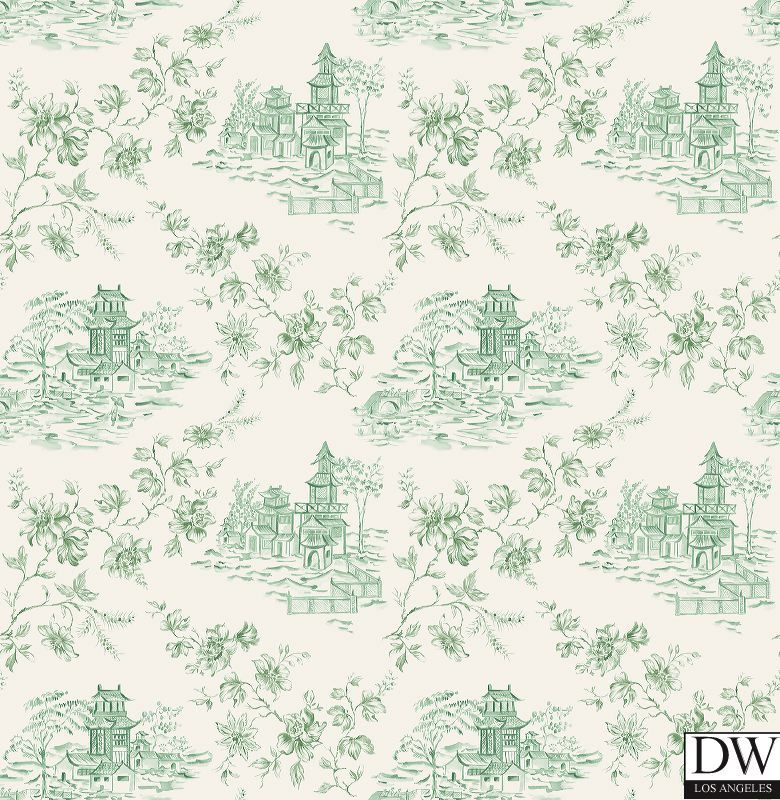 Paysannerie Toile Wallpaper A scenic toile wallpaper with farm