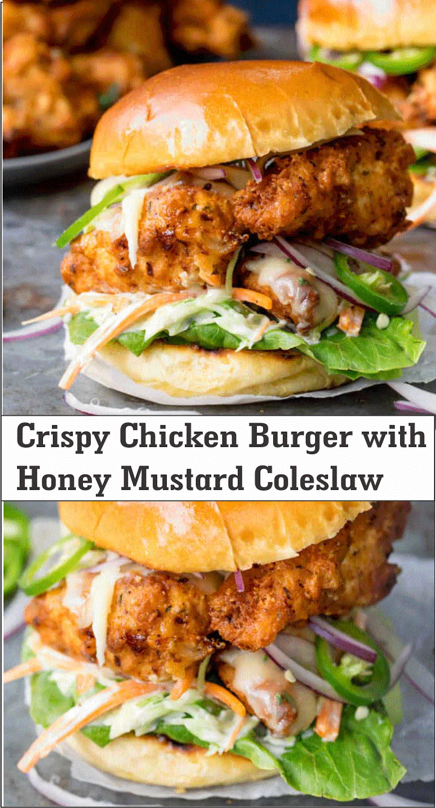 Crispy Chicken Burger With Honey Mustard Coleslaw Crispy Chicken Burgers Recipes Cooking Recipes