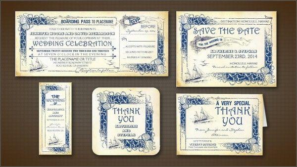 Nautical Vintage Tickets Wedding Invitations
