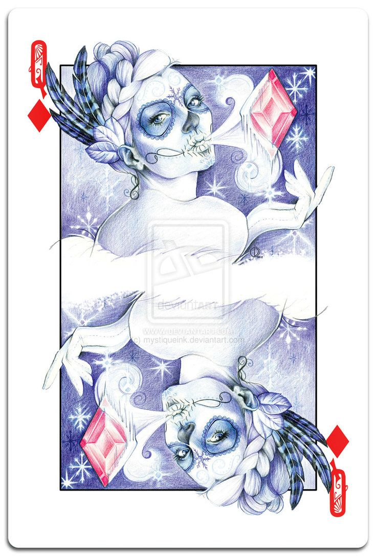 Day of the Dead Queen of Diamonds by mystiqueink on