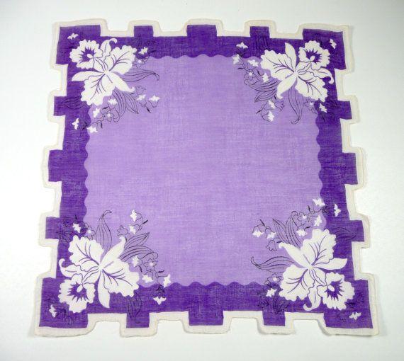 Beautiful Lavender Purple Vintage Hankie Grecian Edge by meaicp, $10.00