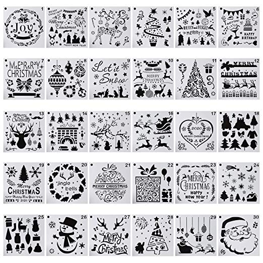 Amazon.com: 30-Pack (6x6 Inch) Christmas Stencils Painting and Drawing Stencil Template for Wood Slice Gift Card Floor Wall Tile Fabric Wood Burning Art DIY -reuseable #burnedwoodstenciling