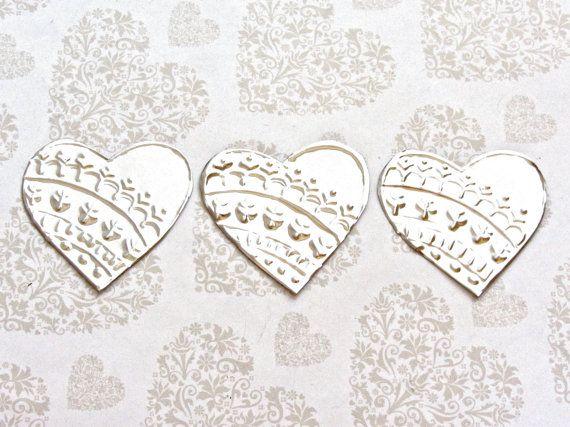 10 Mini Hearts, DIY Wedding Decor, Wedding Reception Decoration, Embossed Metal, Gift Tags