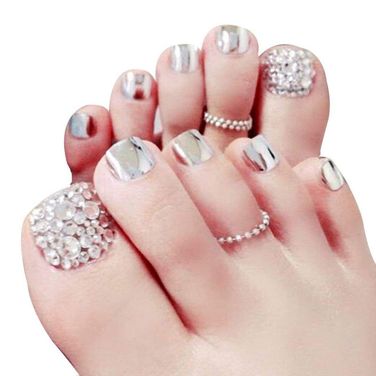 Silver Mirrored Rhinestone Press On Toenails Summer Toe Nails Cute Toe Nails Toe Nail Designs
