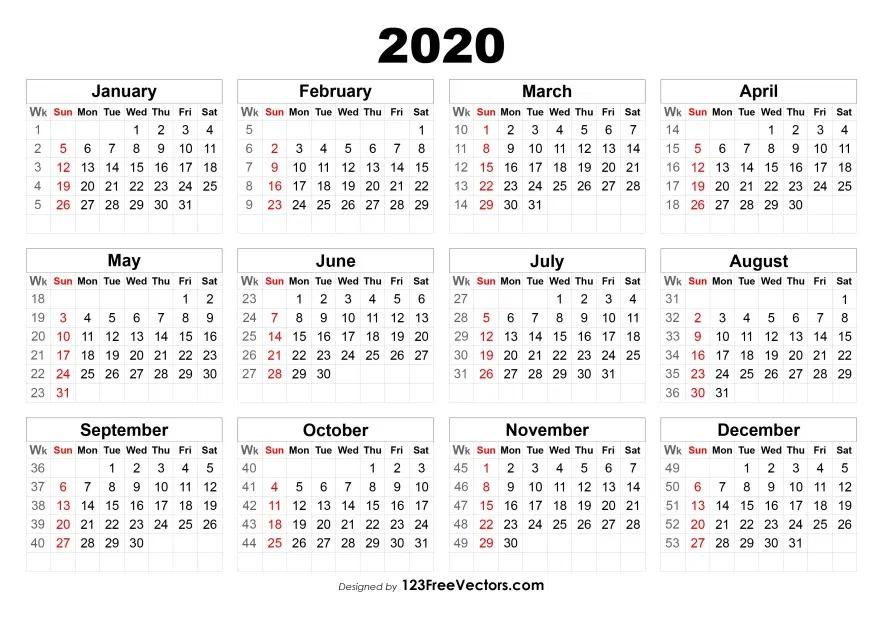 2020 Calendar with Week Numbers Calendar with week