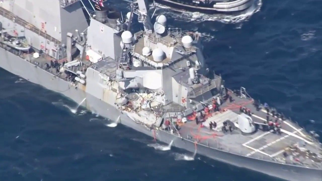 USS FITZGERALD COLLISION AFTERMATH ALL FOOTAGE