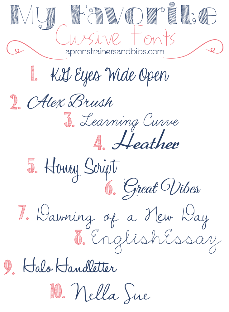 My Favorite Cursive Fonts