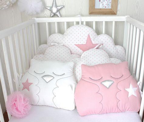 Tour de lit bébé en 60cm large réversible nuages et