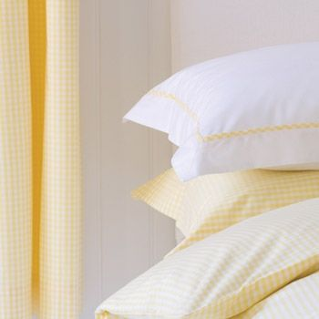 Yellow Gingham Duvet Cover Yellow Bedding White Linen Bedding Yellow Curtains