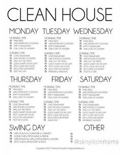 The Most Amazing Cleaning Schedules Ever  Clean House Schedule