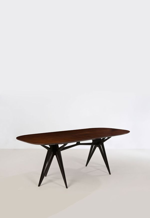 Ico Parisi Attributed; Lacquered Wood and Rosewood Dining Table, 1950s.
