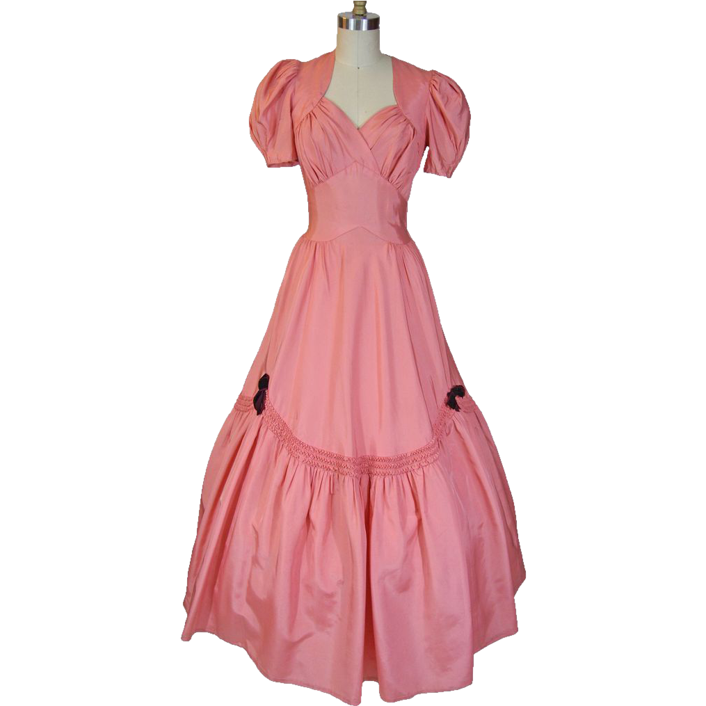 S pink taffeta ball gown offered by ruby lane shop noble