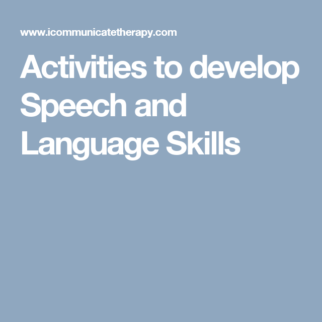 activities to develop speech and language skills