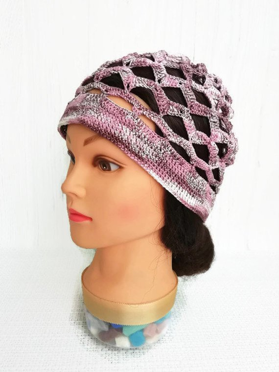 Summer crochet beanie hat woman Crocheted summer hats for women Cotton  crochet beanie adult Chemo ha 7efe2fd4cd8